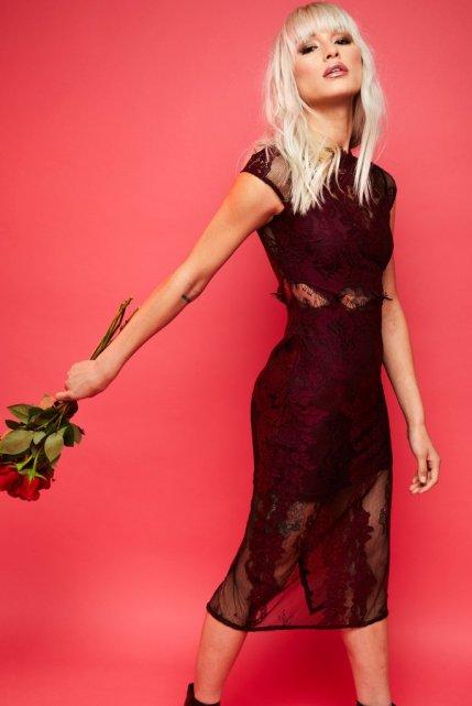 Rose Tattoo Lace Bodycon Valentine Dress
