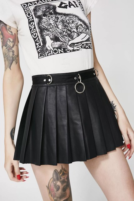 Current Mood Spade Pleated Mini Skirt