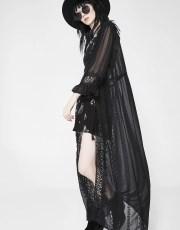 Embroidered Sheer Festival Black Robe