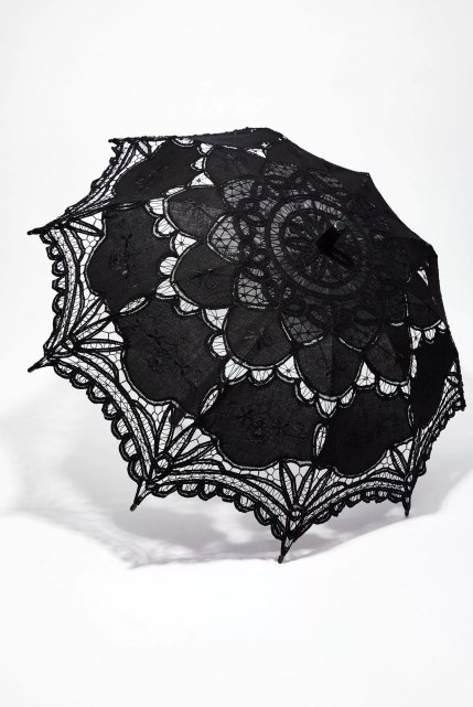 Unhappy Thoughts Embroidered Eyelet Parasol