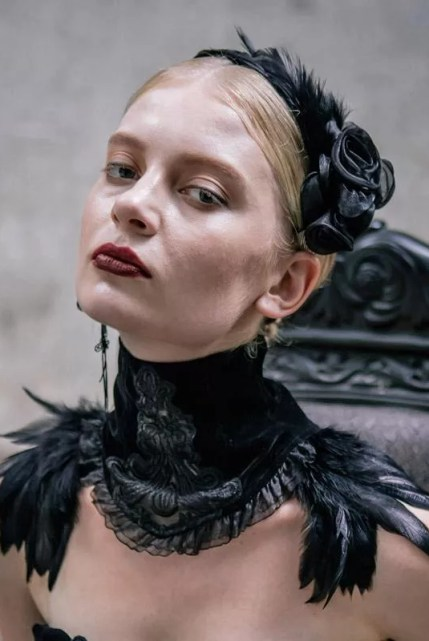 Goth Velvet & Feather Collar