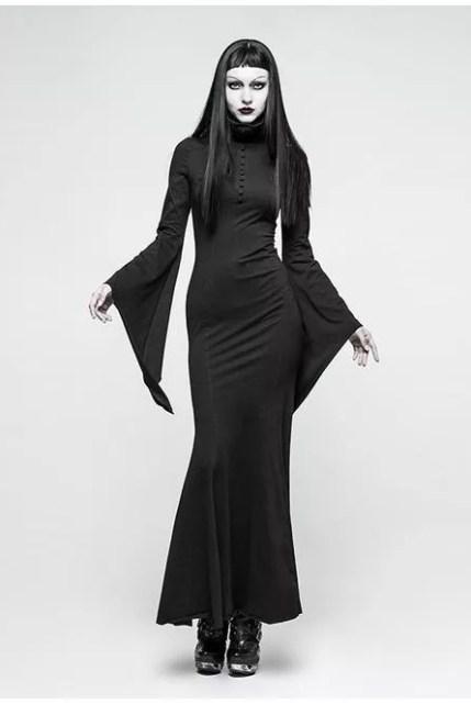 Punk Rave Goth Witch Collar Maxi Dress