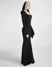 Punk Rave Gothic Witch Bodycon Hooded Maxi Dress