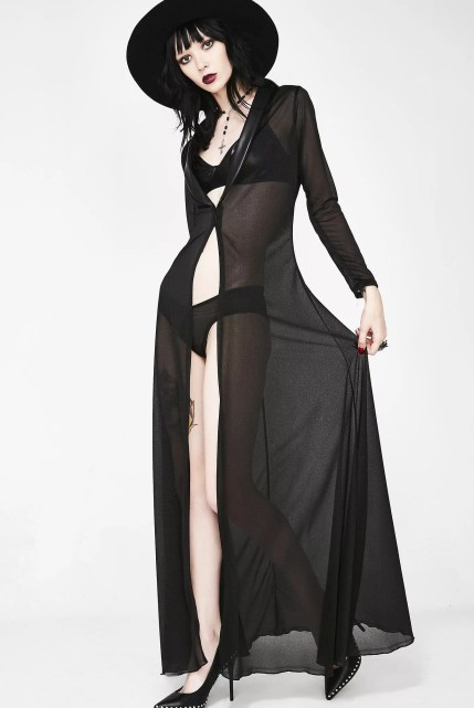 Sheer Long Robe and Panties Set