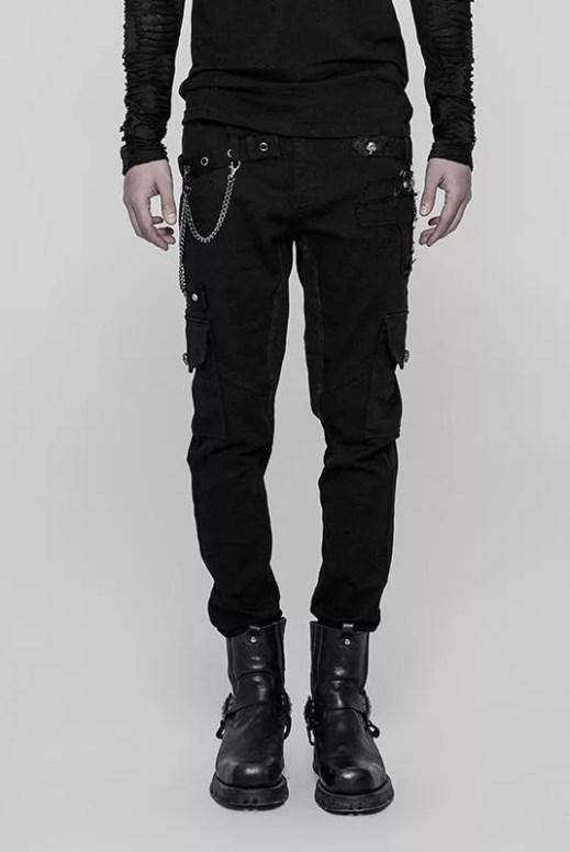 Punk Rave Skinny Patch Pocket Punk Trousers