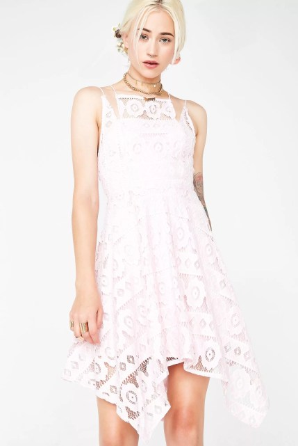 Romantic Asymmetrical Lace Mini Dress
