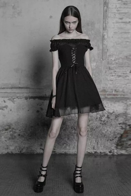 Punk Rave Gothic Burial Off-Shoulder Dress