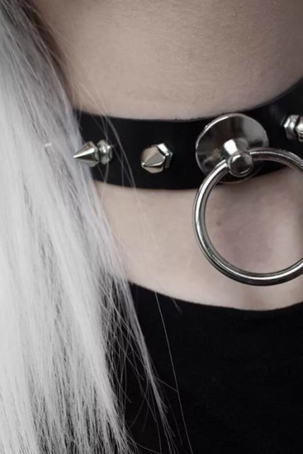 Punk Rave O-rings Leather Choker