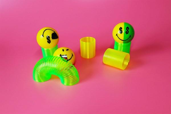 Smiley Hexa Halves Faces on springs