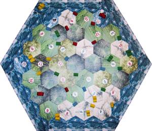 Hexagonalt spillbrett, med stilisert øy omgitt av hav
