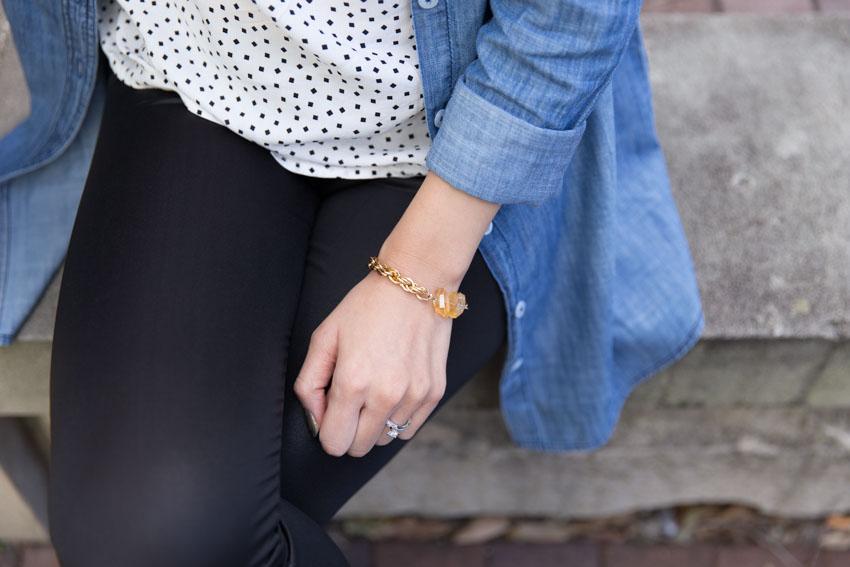 Close shot of golden citrine bracelet