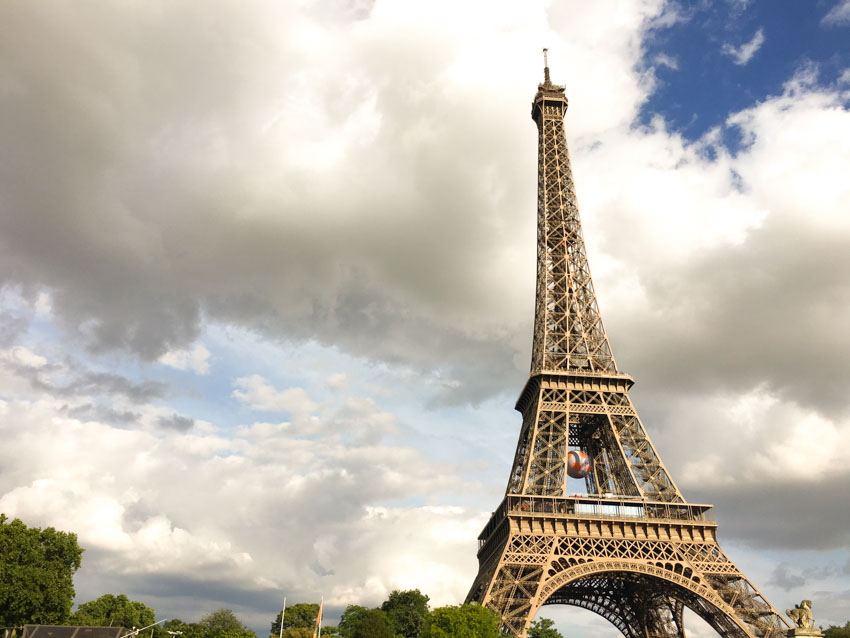 The Eiffel Tower as seen from a boat on the River Seine