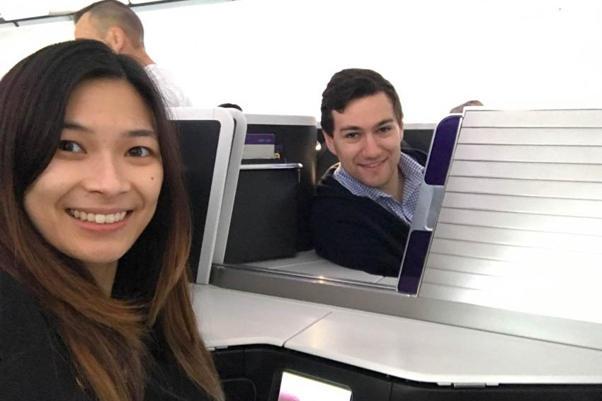 Nick peeking through to be in my selfie on Virgin Australia's business class