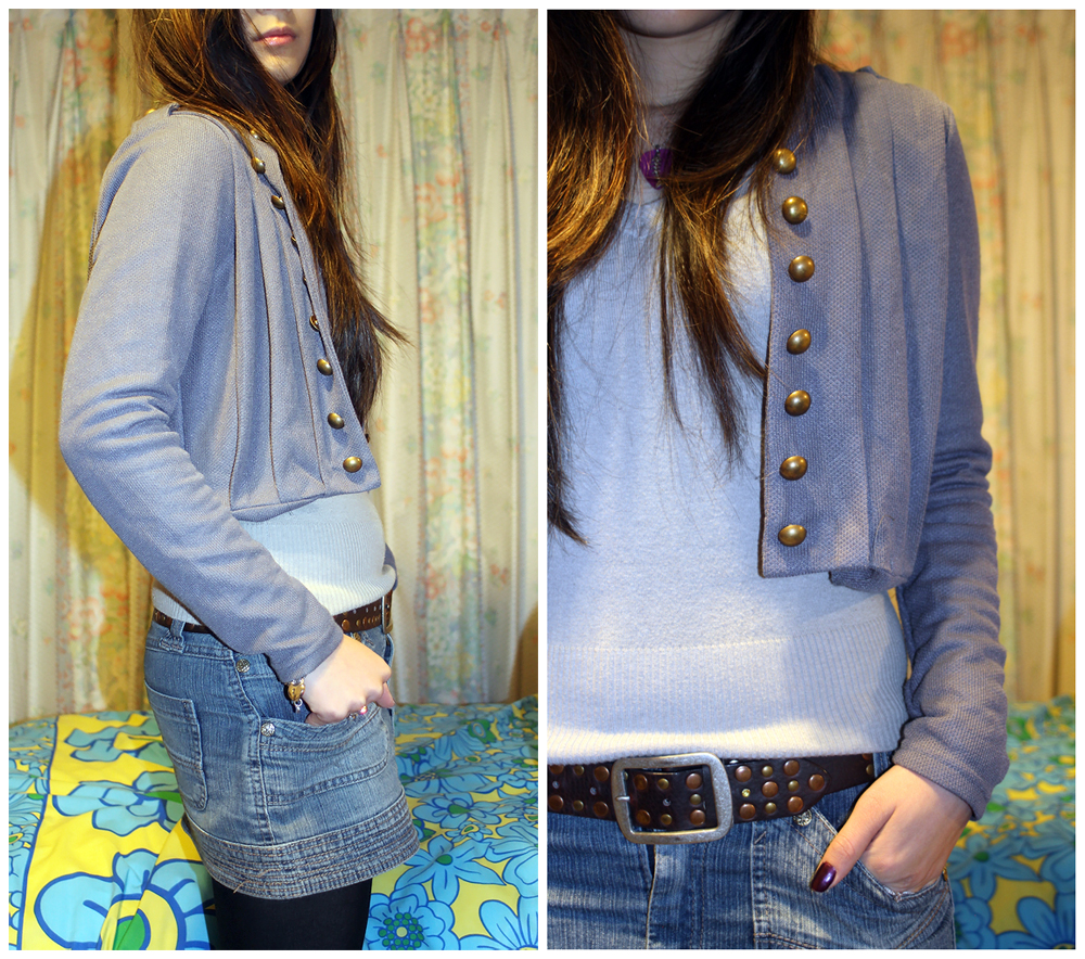 Outfit with denim skirt
