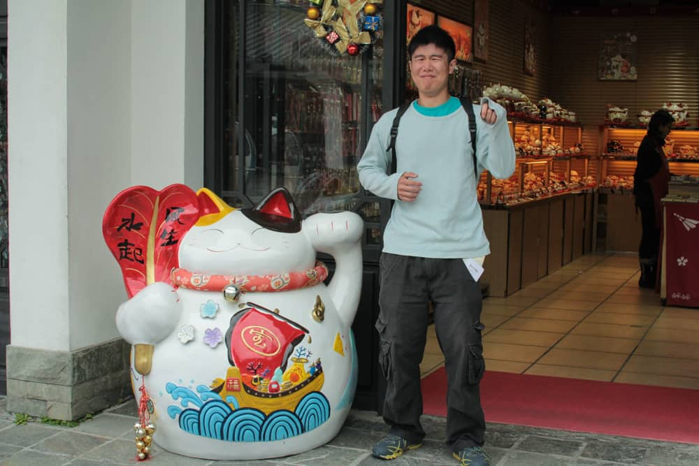 James and a lucky cat