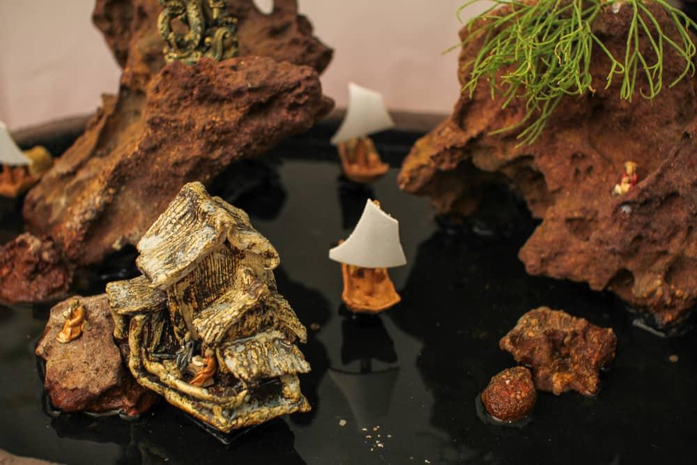 Miniature stone garden display