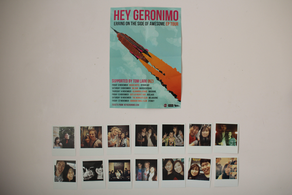 Hey Geronimo tour poster and Instagram prints on my wall
