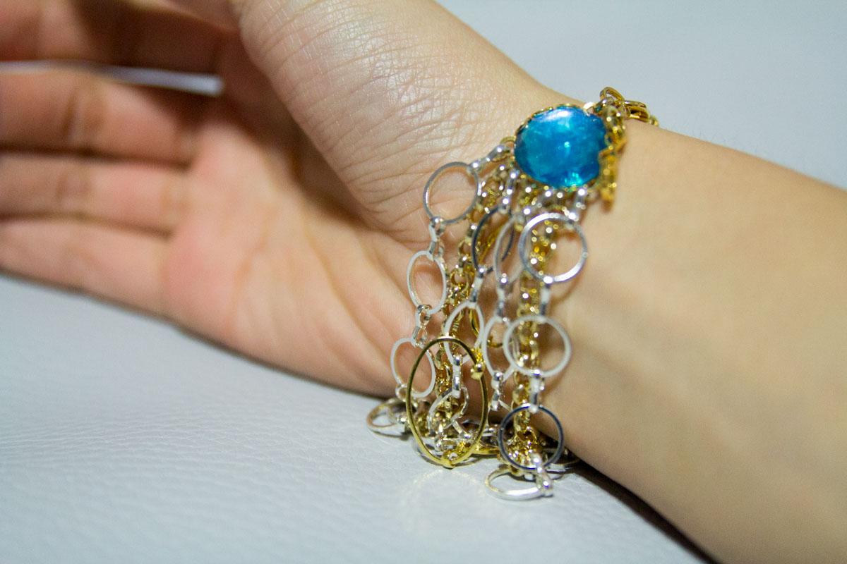 Turquoise multi-chain bracelet