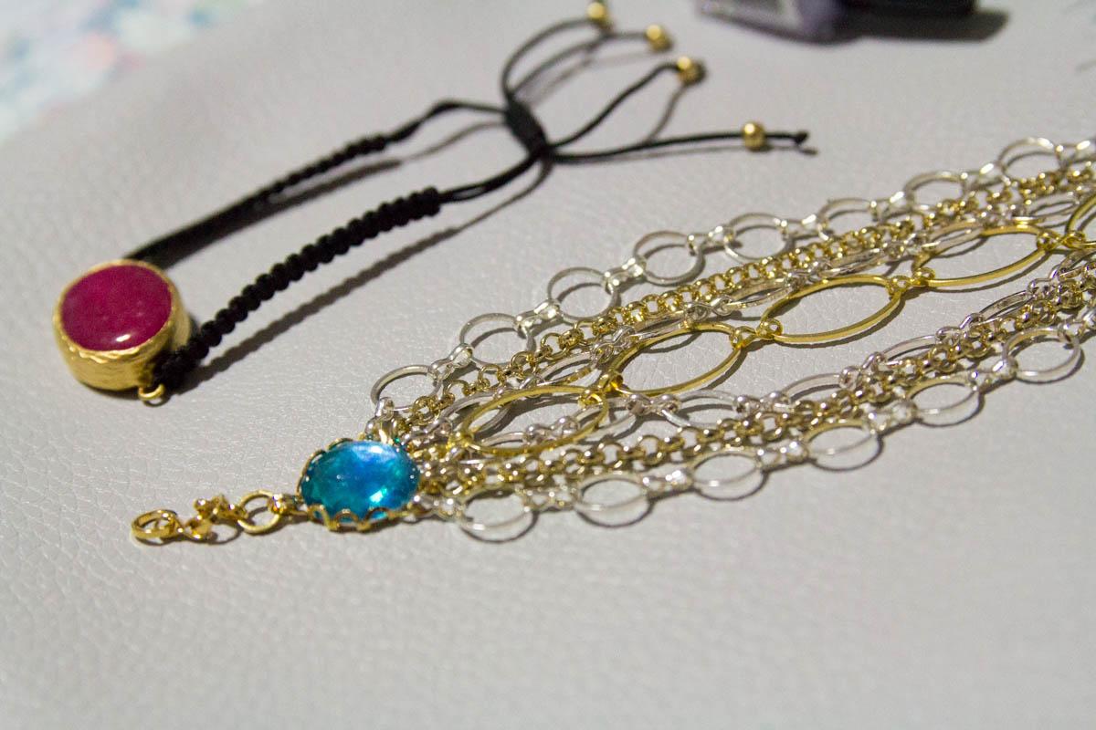 Side view of bracelets
