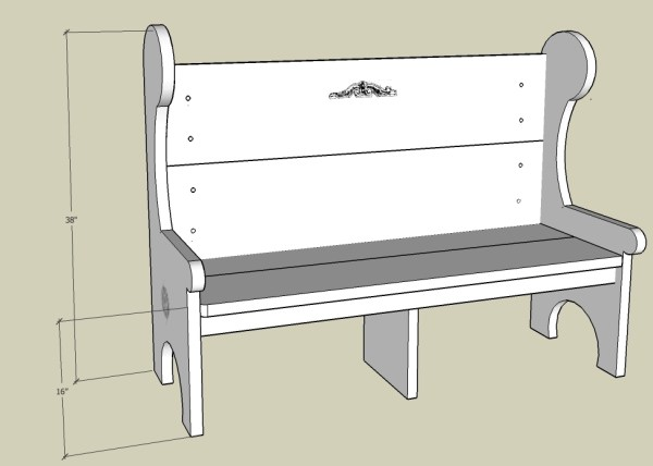 5 Foot Pew Style Bench
