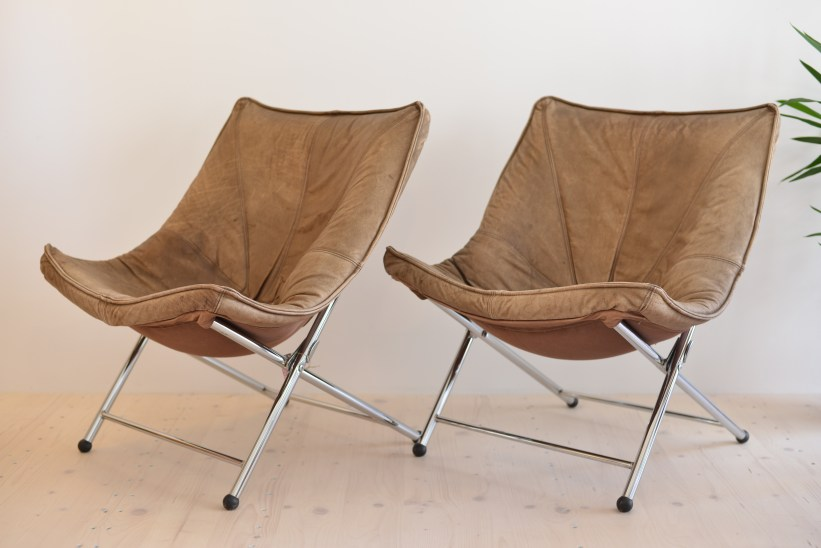 Teun Van Zanten Foldable Leather Chairs