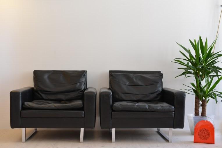 Pair of Black Skai Leather Chairs