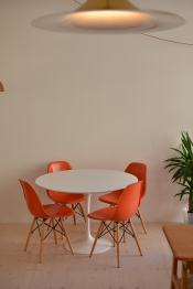 Orange Eames Side Chair with Dowel Base Set of Six