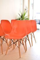 Orange Eames Side Chair with Dowel Base - Set of Six