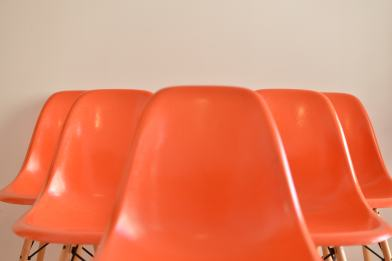Orange Eames Side Chair with Dowel Base - Set of Six