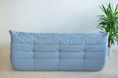 Michel Ducaroy Blue Leather 3er Togo Sofa by Ligne Roset France