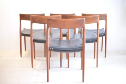 Niels Otto Möller Teak Dining Chair Set No.77 J.L. Moller