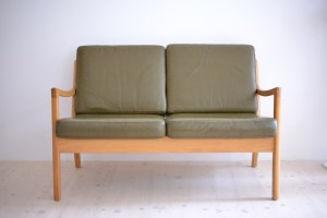 Ole Wanscher Senator Sofa Two Seater Loveseat Olive Leather France And Son Denmark 1960s heyday möbel moebel Zurich Zürich Binz