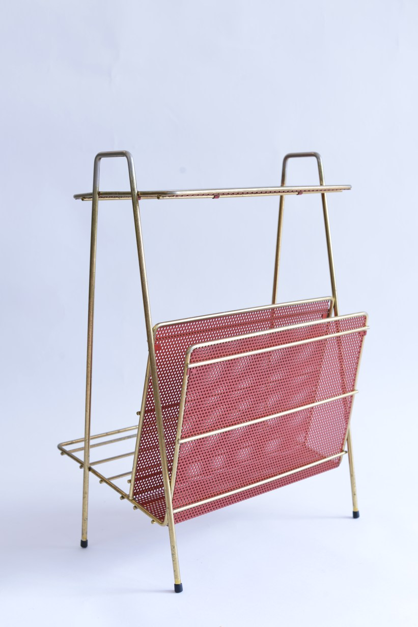 1950s Brass Magazine Rack With Red Perforated Steel