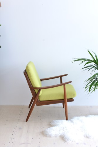Danish Afromosia Lounge Chair newly upholstered with Green Kvadrat heyday möbel