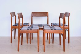 Johannes Norgaard Mobelfabrik Denmark 1963 Teak Dining Chairs with Plaid heyday möbel