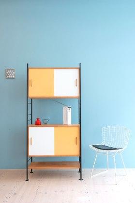 Pine, Mustard and White Storage Unit, design reminiscent of Herbert Hirche