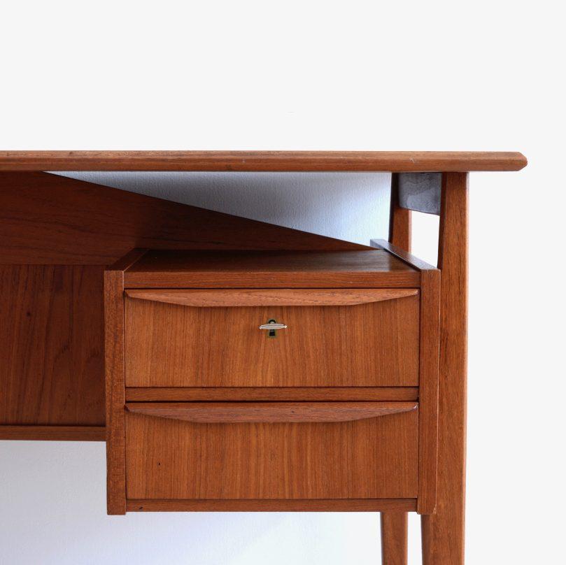 Mid-Century Danish Teak Floating Top Desk by Gunnar Nielsen Tibergaard