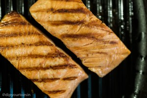 Salmon fillets in Taco Rio with Cacao Black Bean Dip inspired by Chef Watson | via @dipyourtoesin