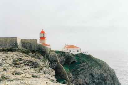 Red lighthouse at Cape of St Vincent, Algarve