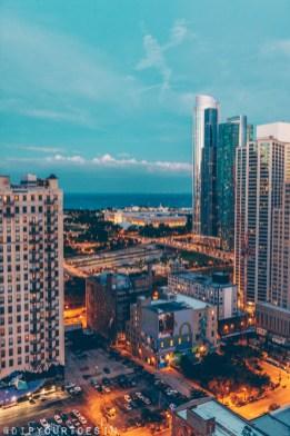 Sunset over Chicago skyline