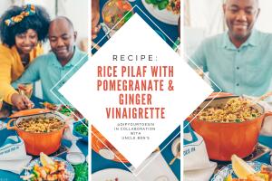 Rice Pilaf with Pomegranate & Ginger Vinaigrette, using Uncle Ben's Lemon & Thyme Rice