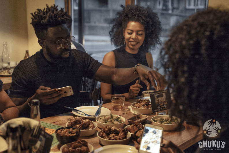 Guests enjoying Nigerian Tapas at Chuku's