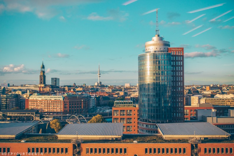 Skyline view of Hamburg with iconic buildings