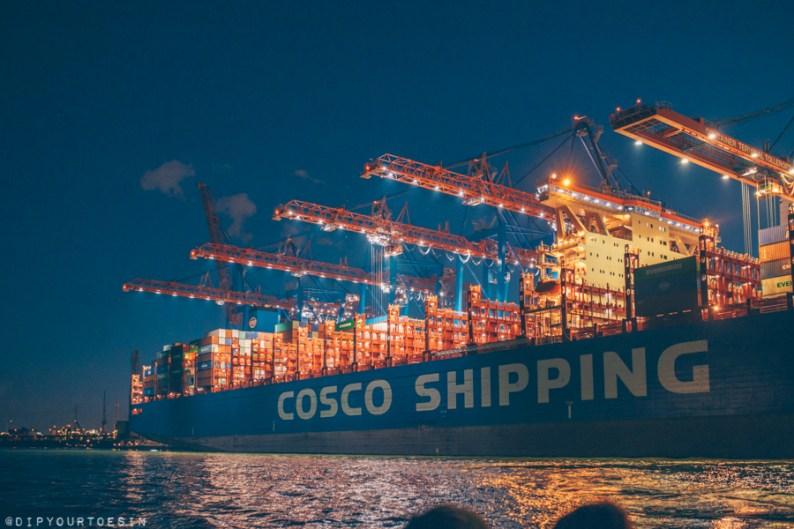 Ship in Hamburg port at night