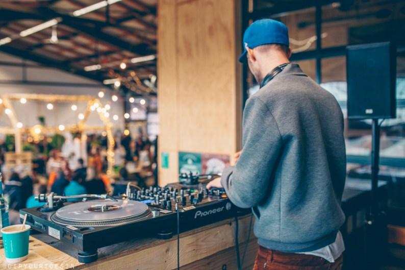 DJ entertaining at Ahoimarkt, Hamburg