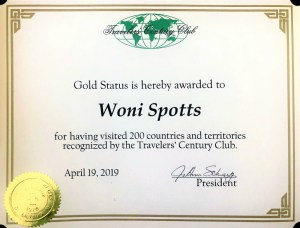 Woni Spotts Travelers Century Club