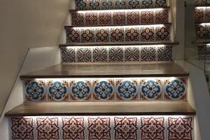 Colourful tiles line steps at Tasting Sicily Enzo's Kitchen