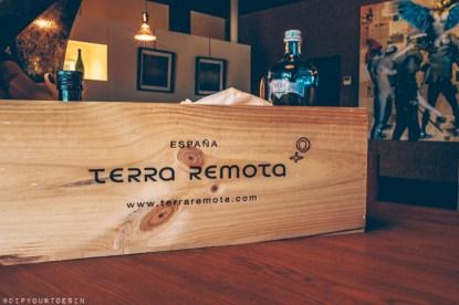 Wooden box showing Terra Remota winery logo, D.O. Emporda