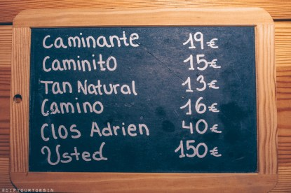 Price list (2018) of organic wines produced at Terra Remota