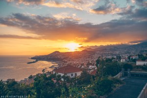Sunset view of Funchal from ocean villa